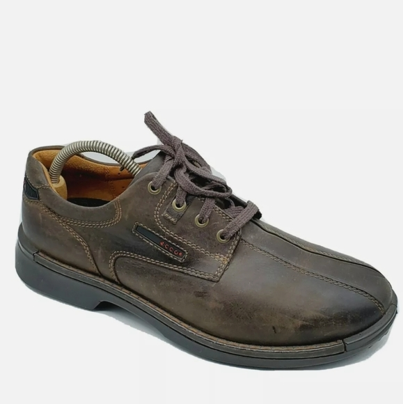 ECCO Brown Leather Lace Up Casual Oxford 43/9-9.5
